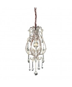 ELK Lighting 12013/1CL Opulence 1 Light Pendant in Rust and Clear Crystals