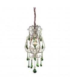 ELK Lighting 12013/1LM Opulence 1 Light Pendant in Rust and Lime Crystals