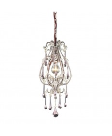 ELK Lighting 12013/1RS Opulence 1 Light Pendant in Rust and Rose Crystals