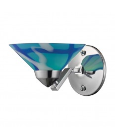 ELK Lighting 1470/1CAR Refraction 1 Light Sconce in Polished Chrome and Carribean Glass
