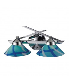 ELK Lighting 1471/2CAR Refraction 2 Light Wall Bracket in Polished Chrome and Carribean Glass