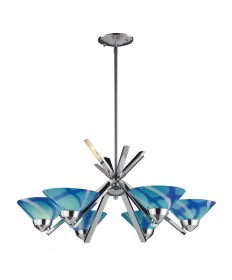 ELK Lighting 1475/6CAR Refraction 6 Light Chandelier in Polished Chrome and Carribean Glass