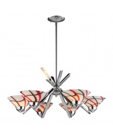 ELK Lighting 1475/6CRW Refraction 6 Light Chandelier in Polished Chrome and Creme White Glass