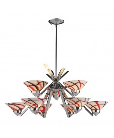 ELK Lighting 1476/6+3CRW Refraction 9 Light Chandelier in Polished Chrome and Creme White Glass