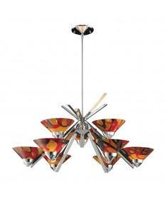 ELK Lighting 1476/6+3JAS Refraction 9 Light Chandelier in Polished Chrome and Jasper Glass