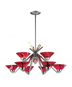 ELK Lighting 1476/6+3MAR Refraction 9 Light Chandelier in Polished Chrome and Mars Glass
