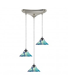 ELK Lighting 1477/3CAR Refraction 3 Light Pendant in Polished Chrome and Carribean Glass