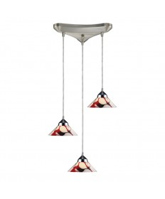 ELK Lighting 1477/3CRW Refraction 3 Light Pendant in Polished Chrome and Creme White Glass