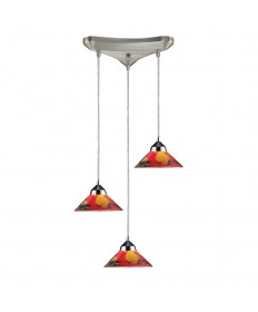 ELK Lighting 1477/3JAS Refraction 3 Light Pendant in Polished Chrome and Jasper Glass