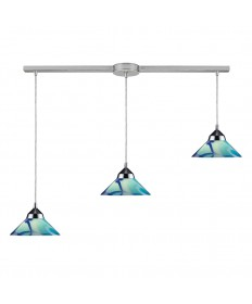 ELK Lighting 1477/3L-CAR Refraction 3 Light Pendant in Polished Chrome and Carribean Glass