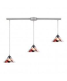 ELK Lighting 1477/3L-CRW Refraction 3 Light Pendant in Polished Chrome and Creme White Glass