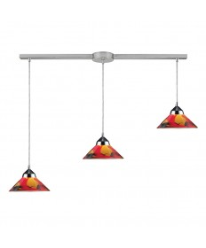 ELK Lighting 1477/3L-JAS Refraction 3 Light Pendant in Polished Chrome and Jasper Glass