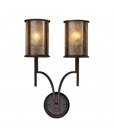 ELK Lighting 15030/2 Barringer 2 Light Sconce in Aged Bronze and Tan Mica Shades