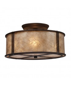 ELK Lighting 15031/3 Barringer 3 Light Semi-flush in Aged Bronze and Tan Mica Shade