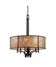 ELK Lighting 15034/6 Barringer 6 Light Pendelier in Aged Bronze and Tan Mica Shade