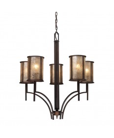 ELK Lighting 15035/5 Barringer 5 Light Chandelier in Aged Bronze and Tan Mica Shades
