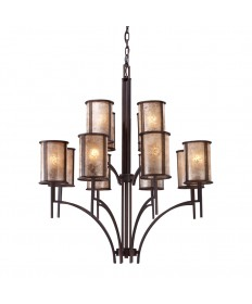 ELK Lighting 15036/8+4 Barringer 8+4 Light Chandelier in Aged Bronze and Tan Mica Shades