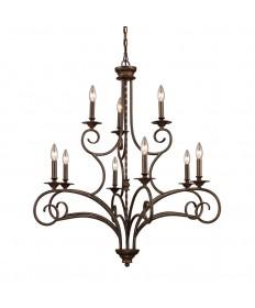 ELK Lighting 15043/6+3 Gloucester 6+3 Light Chandelier in Antique Bronze