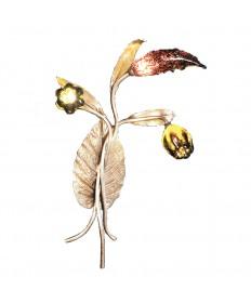 ELK Lighting 1694/3 Bela Iguazu 3 Light Wall Bracket in Silver Leaf and Hand Formed Glass Flowers