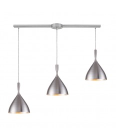 ELK Lighting 17042/3L-ALM Spun Aluminum 3 Light Pendant in Aluminum