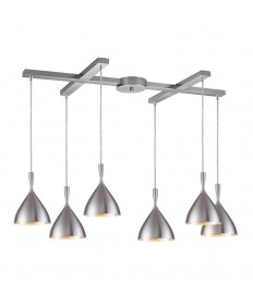 ELK Lighting 17042/6ALM Spun Aluminum 6 Light Pendant in Aluminum