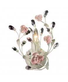 ELK Lighting 18093/1 Heritage 1 Light Sconce in Cream and Porcelain Roses