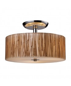 ELK Lighting 19065/3 Modern Organics 3 Light Semi-flush in Bamboo Stem Material in Polished Chrome