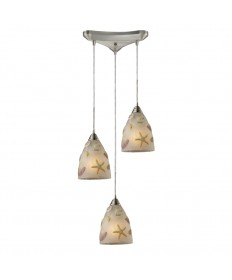 ELK Lighting 20000/3 Seashore 3 Light Pendant in Satin Nickel