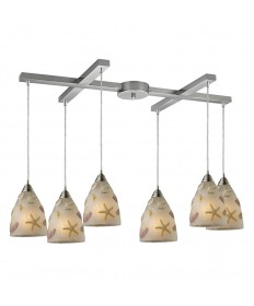 ELK Lighting 20000/6 Seashore 6 Light Pendant in Satin Nickel