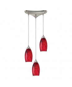 ELK Lighting 20001/3RG Galaxy 3 Light Pendant in Red and Satin Nickel Finish