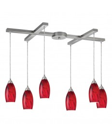 ELK Lighting 20001/6RG Galaxy 6 Light Pendant in Red and Satin Nickel Finish