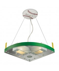 ELK Lighting 21013/2 Novelty 2 Light Baseball Field Pendant in White/green