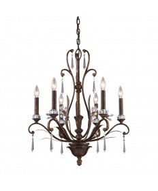 ELK Lighting 2183/6 Emilion 6 Light Chandelier in Burnt Bronze