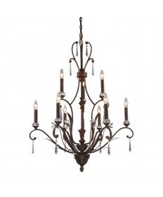 ELK Lighting 2184/6+3 Emilion 9 Light Chandelier in Burnt Bronze