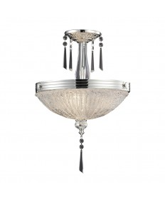 ELK Lighting 2394/3 Princess 3 Light Semi Flush in Polished Silver and Iced Glass
