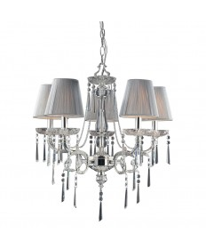 ELK Lighting 2396/5 Princess 5 Light Chandelier in Polished Silver and Iced Glass