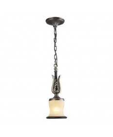 ELK Lighting 2426/1 Georgian Court 1 Light Pendant in Antique Bronze & Dark Umber and Marblized Amber Glass