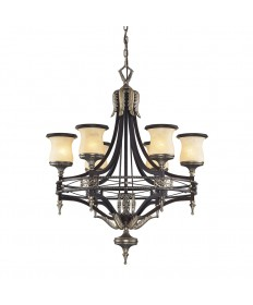 ELK Lighting 2431/6 Georgian Court 6 Light Chandelier in Antique Bronze & Dark Umber and Marblized Amber Glass