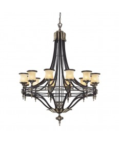 ELK Lighting 2434/12 Georgian Court 12 Light Chandelier in Antique Bronze & Dark Umber and Marblized Amber Glass