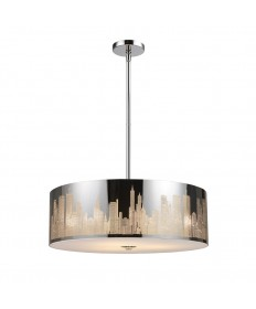 ELK Lighting 31039/5 Skyline 5 Light Pendant in Polished Stainless Steel