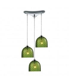 ELK Lighting 31080/3GRN Viva 3 Light Green Pendant in Polished Chrome