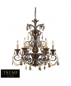 ELK Lighting 3344/6 Rochelle 6 Light Chandelier with Amber Crystal