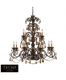 ELK Lighting 3345/8+4 Rochelle 12 Light Chandelier with Amber Crystal