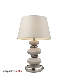 Dimond Lighting 3948/1 Elemis Table Lamp in Pure White and Chrome with White Faux Suede Shade