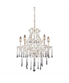ELK Lighting 4002/5CL Opulence 5 Light Chandelier in Antique White and Clear Crystal