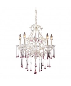 ELK Lighting 4002/5RS Opulence 5 Light Chandelier in Antique White and Rose Crystal