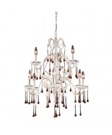 ELK Lighting 4003/6+3AMB Opulence 9 Light Chandelier in Antique White and Amber Crystal