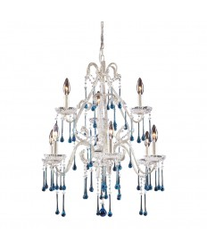 ELK Lighting 4003/6+3AQ Opulence 9 Light Chandelier in Antique White and Aqua Crystal