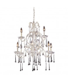 ELK Lighting 4003/6+3CL Opulence 9 Light Chandelier in Antique White and Clear Crystal