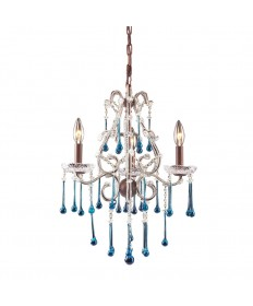 ELK Lighting 4011/3AQ Opulence 3 Light Chandelier in Rust and Aqua Crystal